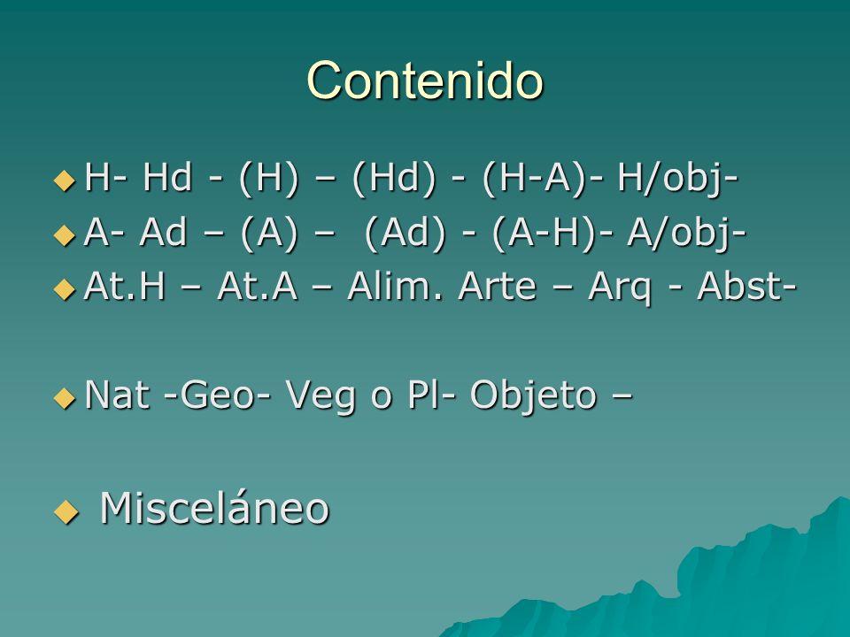 Contenido H- Hd - (H) – (Hd) - (H-A)- H/obj- H- Hd - (H) – (Hd) - (H-A)- H/obj- A- Ad – (A) – (Ad) - (A-H)- A/obj- A- Ad – (A) – (Ad) - (A-H)- A/obj-