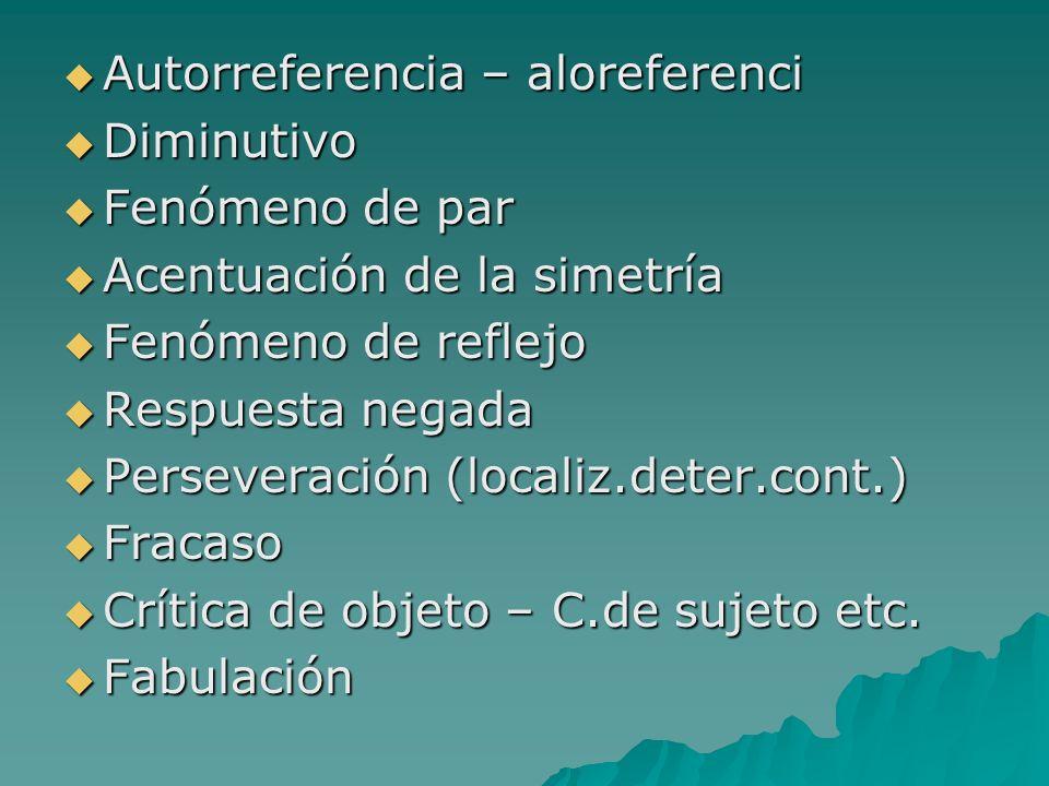 Autorreferencia – aloreferenci Autorreferencia – aloreferenci Diminutivo Diminutivo Fenómeno de par Fenómeno de par Acentuación de la simetría Acentua
