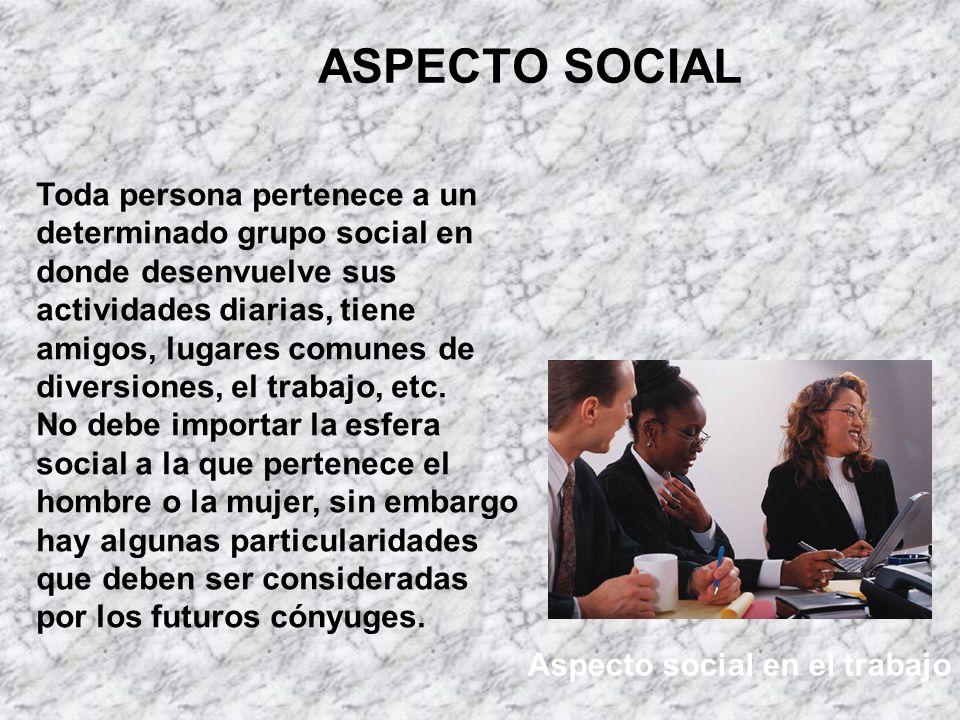 ASPECTO SOCIAL Aspecto social en el trabajo Toda persona pertenece a un determinado grupo social en donde desenvuelve sus actividades diarias, tiene a