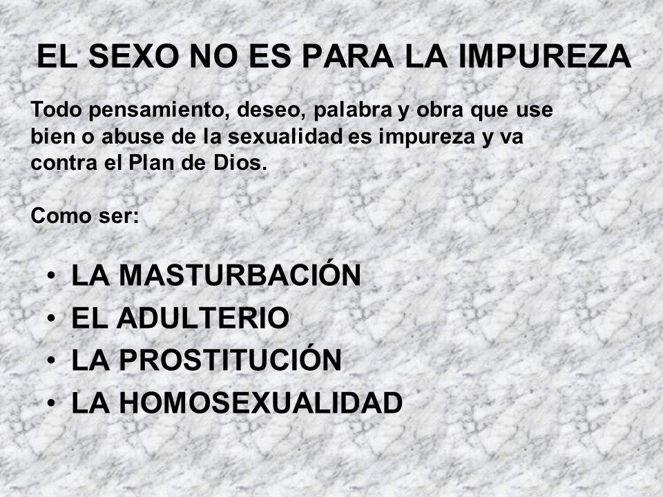 EL SEXO NO ES PARA LA IMPUREZA LA MASTURBACIÓN EL ADULTERIO LA PROSTITUCIÓN LA HOMOSEXUALIDAD Todo pensamiento, deseo, palabra y obra que use bien o a