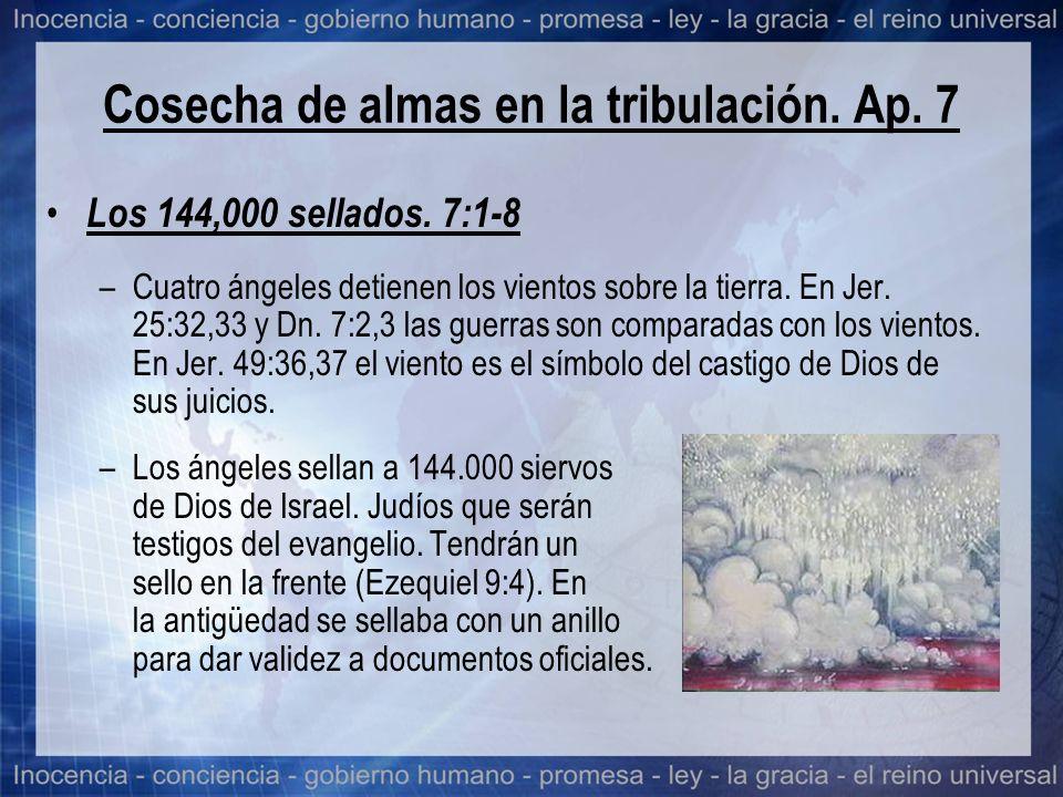 Cosecha de almas en la tribulación. Ap. 7 Los 144,000 sellados. 7:1-8 –Cuatro ángeles detienen los vientos sobre la tierra. En Jer. 25:32,33 y Dn. 7:2