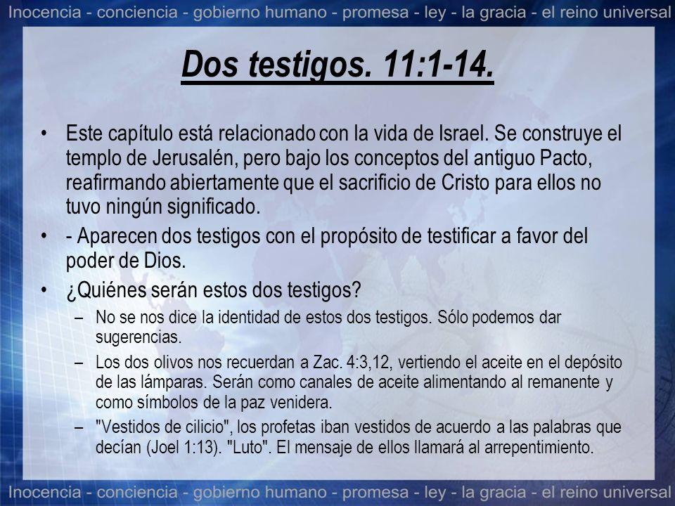 Dos testigos. 11:1-14. Este capítulo está relacionado con la vida de Israel. Se construye el templo de Jerusalén, pero bajo los conceptos del antiguo