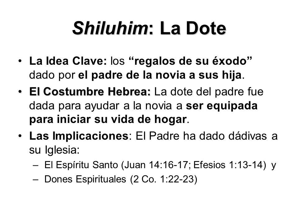 Shiluhim: La Dote La Idea Clave: los regalos de su éxodo dado por el padre de la novia a sus hija. El Costumbre Hebrea:El Costumbre Hebrea: La dote de