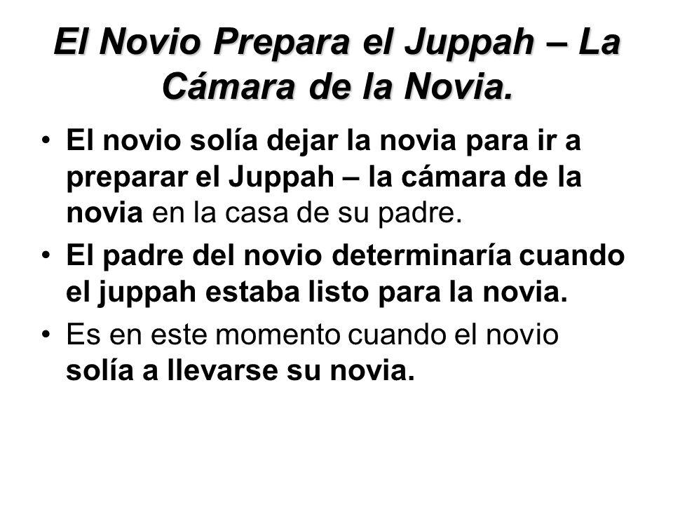 El Novio Prepara el Juppah – La Cámara de la Novia. El novio solía dejar la novia para ir a preparar el Juppah – la cámara de la novia en la casa de s