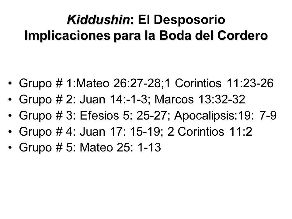 Kiddushin: Implicaciones para la Boda del Cordero Kiddushin: El Desposorio Implicaciones para la Boda del Cordero Grupo # 1:Mateo 26:27-28;1 Corintios