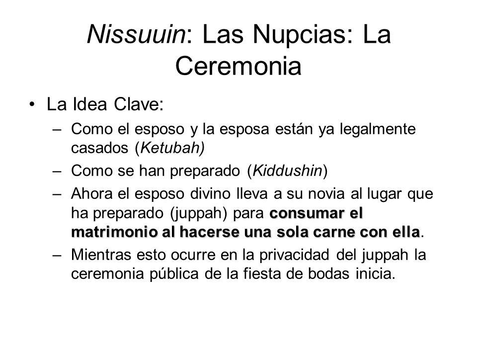 Nissuuin: Las Nupcias: La Ceremonia La Idea Clave: –Como el esposo y la esposa están ya legalmente casados (Ketubah) –Como se han preparado (Kiddushin