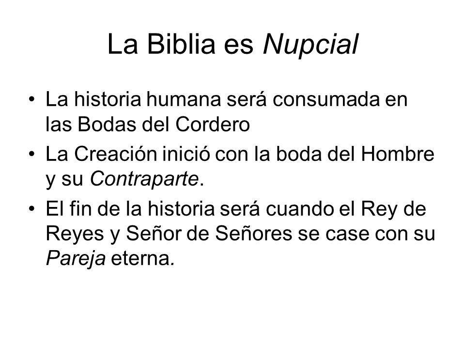 La Biblia es Nupcial La historia humana será consumada en las Bodas del Cordero La Creación inició con la boda del Hombre y su Contraparte. El fin de
