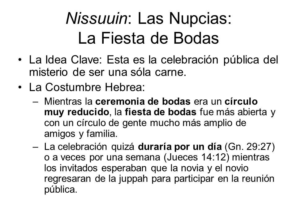 Nissuuin: Las Nupcias: La Fiesta de Bodas La Idea Clave: Esta es la celebración pública del misterio de ser una sóla carne. La Costumbre Hebrea: –Mien