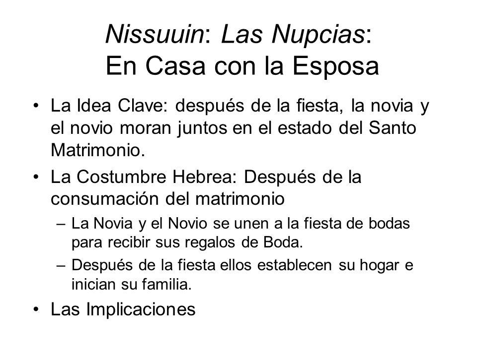 Nissuuin: Las Nupcias: En Casa con la Esposa La Idea Clave: después de la fiesta, la novia y el novio moran juntos en el estado del Santo Matrimonio.