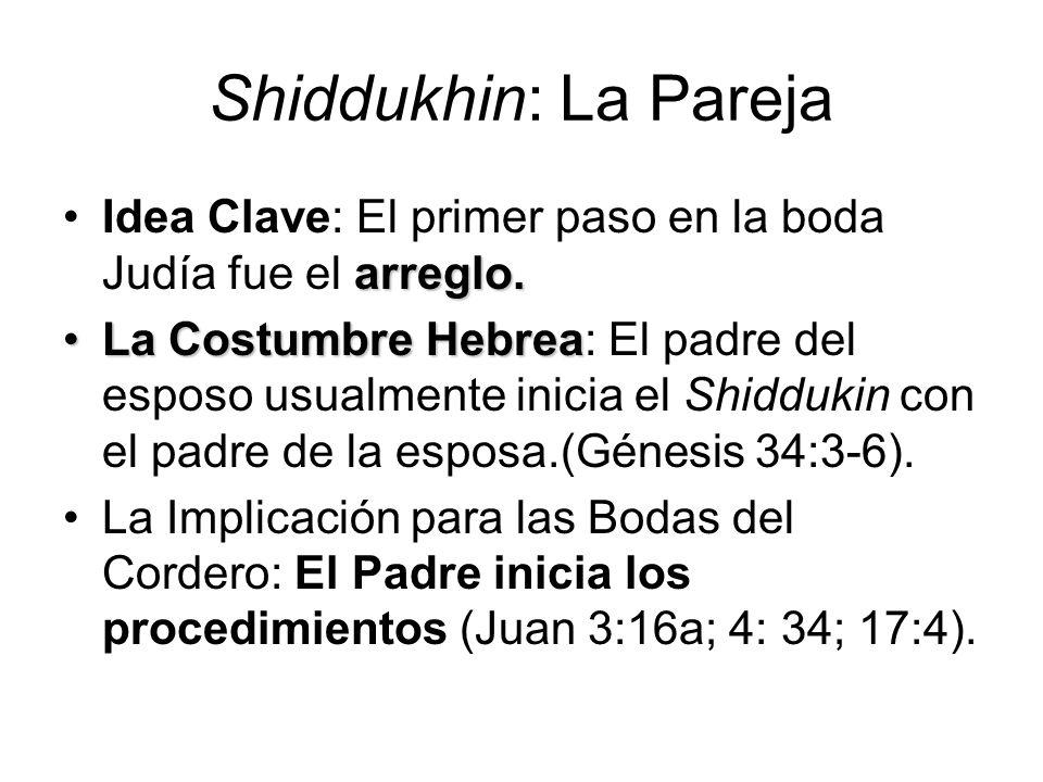 Shiddukhin: La Pareja arreglo.Idea Clave: El primer paso en la boda Judía fue el arreglo. La Costumbre HebreaLa Costumbre Hebrea: El padre del esposo