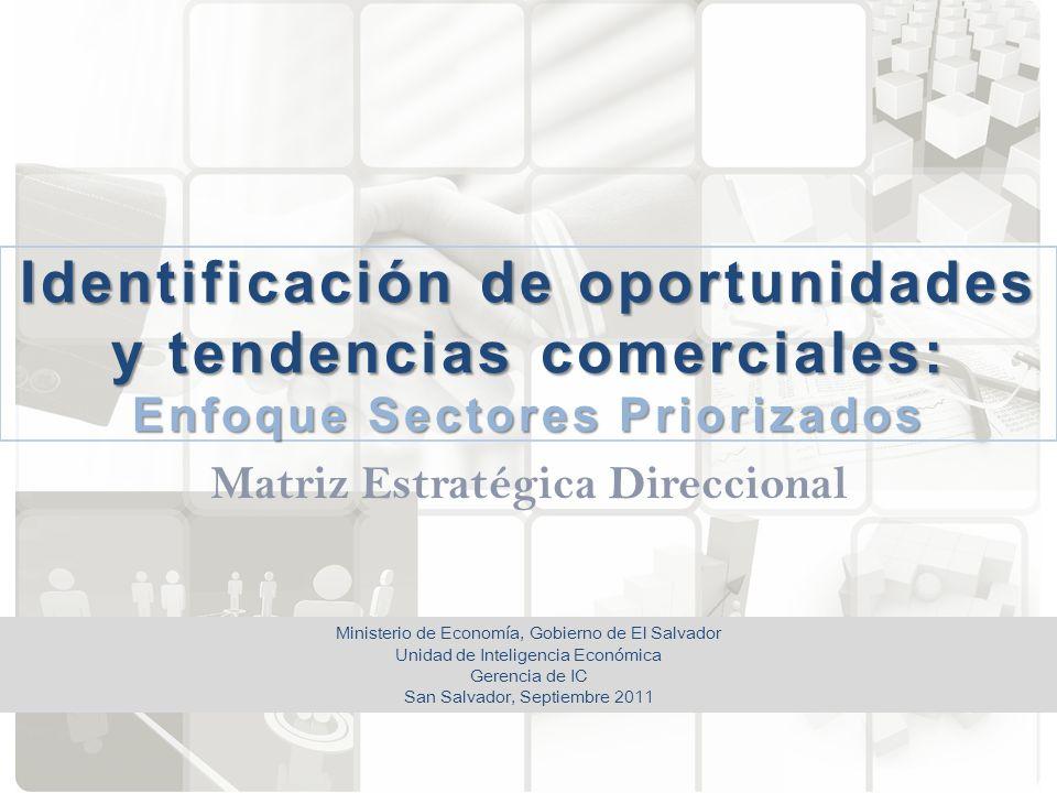 Identificación de oportunidades y tendencias comerciales: Enfoque Sectores Priorizados Matriz Estratégica Direccional Ministerio de Economía, Gobierno