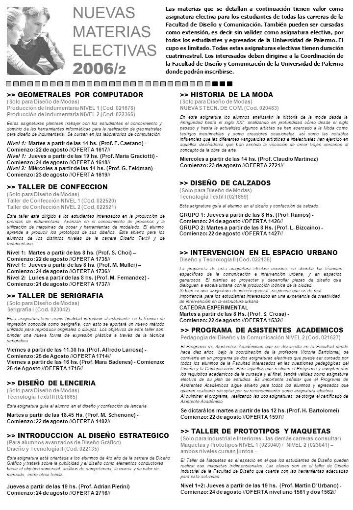NUEVAS MATERIAS ELECTIVAS 2006/ 2 Las materias que se detallan a continuación tienen valor como asignatura electiva para los estudiantes de todas las carreras de la Facultad de Diseño y Comunicación.