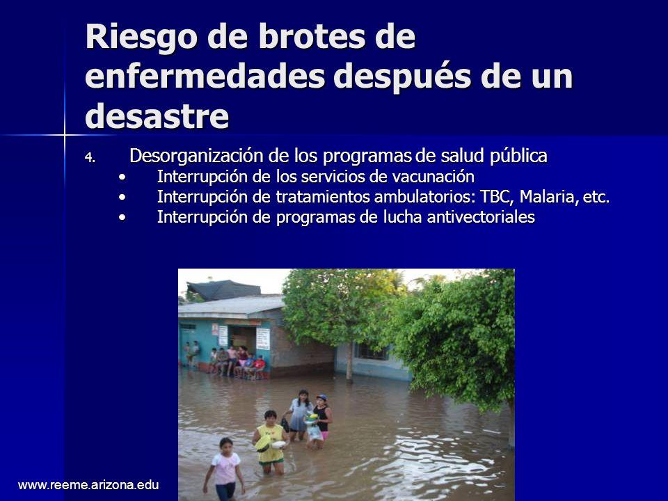 www.reeme.arizona.edu Riesgo de brotes de enfermedades después de un desastre 4. Desorganización de los programas de salud pública Interrupción de los