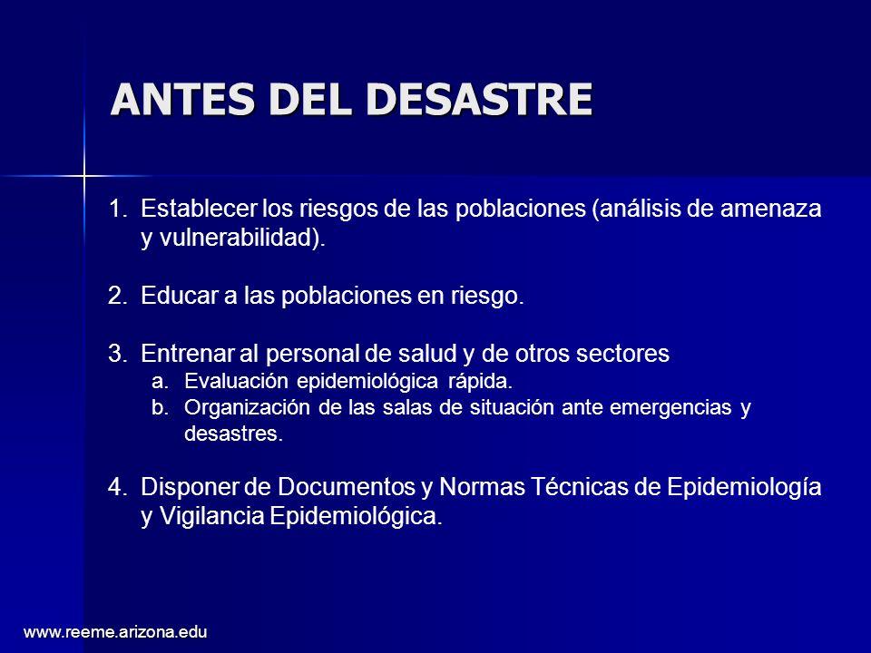 www.reeme.arizona.edu ANTES DEL DESASTRE 1.Establecer los riesgos de las poblaciones (análisis de amenaza y vulnerabilidad). 2.Educar a las poblacione
