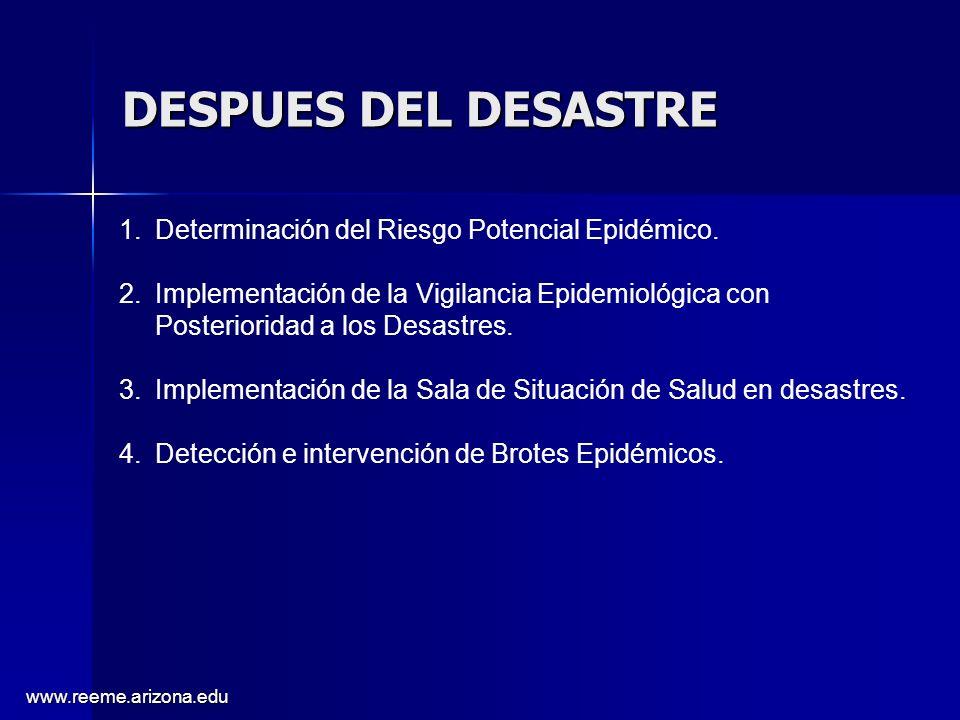 www.reeme.arizona.edu DESPUES DEL DESASTRE 1.Determinación del Riesgo Potencial Epidémico. 2.Implementación de la Vigilancia Epidemiológica con Poster