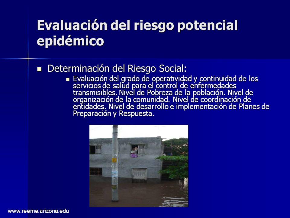 www.reeme.arizona.edu Evaluación del riesgo potencial epidémico Determinación del Riesgo Social: Determinación del Riesgo Social: Evaluación del grado de operatividad y continuidad de los servicios de salud para el control de enfermedades transmisibles.