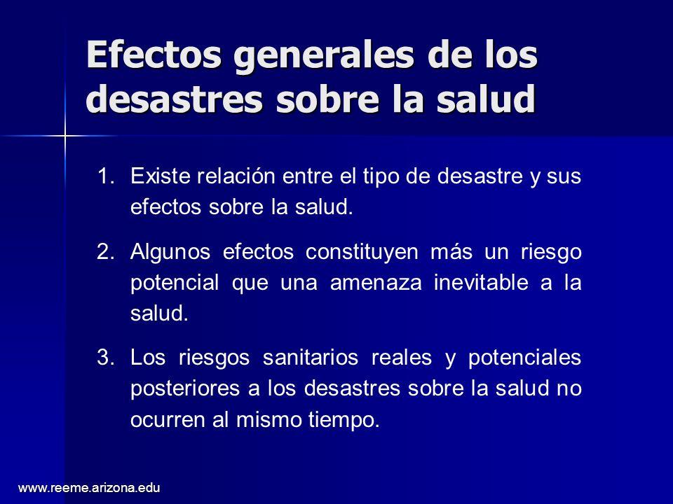 www.reeme.arizona.edu Efectos generales de los desastres sobre la salud 1.Existe relación entre el tipo de desastre y sus efectos sobre la salud.