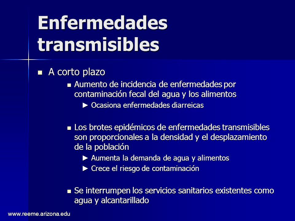 www.reeme.arizona.edu Enfermedades transmisibles A corto plazo A corto plazo Aumento de incidencia de enfermedades por contaminación fecal del agua y