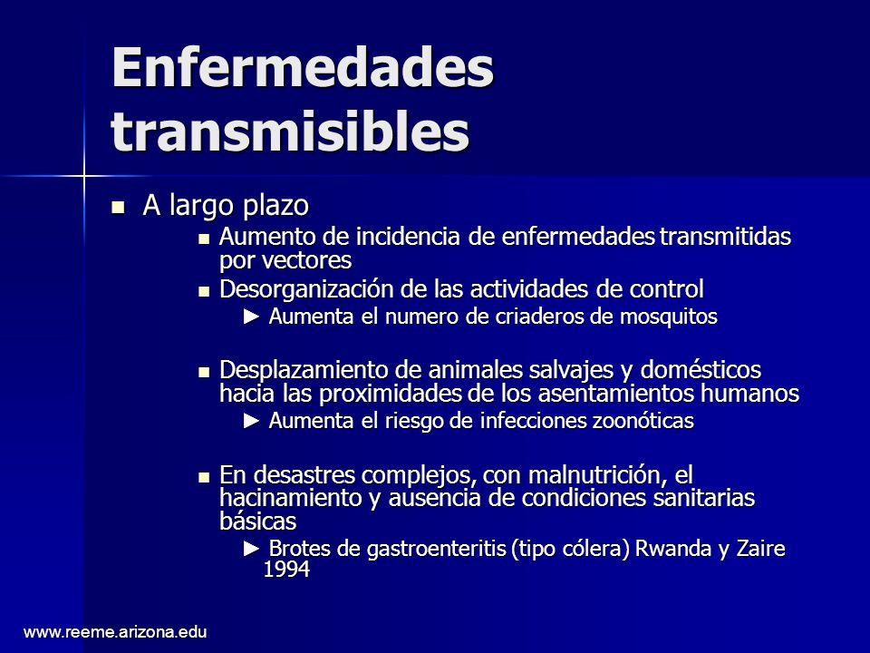 www.reeme.arizona.edu Enfermedades transmisibles A largo plazo A largo plazo Aumento de incidencia de enfermedades transmitidas por vectores Aumento d