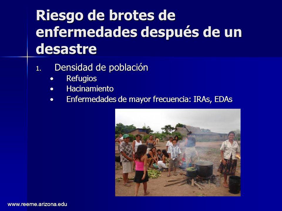 www.reeme.arizona.edu Riesgo de brotes de enfermedades después de un desastre 1. Densidad de población RefugiosRefugios HacinamientoHacinamiento Enfer