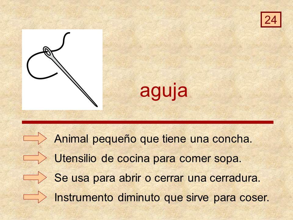 aguja Instrumento diminuto que sirve para coser.Animal pequeño que tiene una concha.