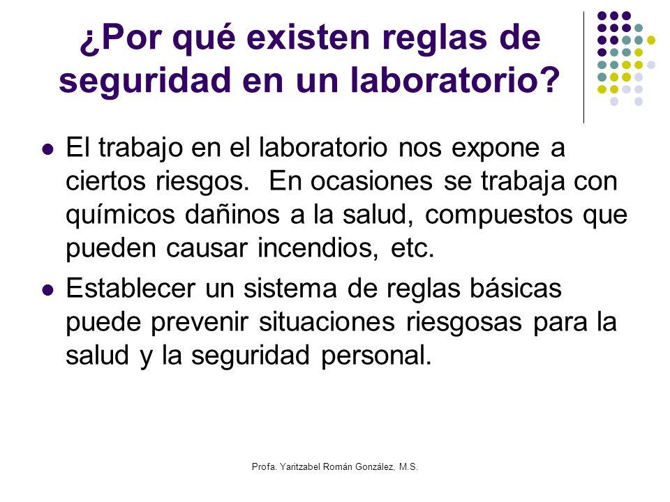 Profa. Yaritzabel Román González, M.S. ¿Por qué existen reglas de seguridad en un laboratorio? El trabajo en el laboratorio nos expone a ciertos riesg