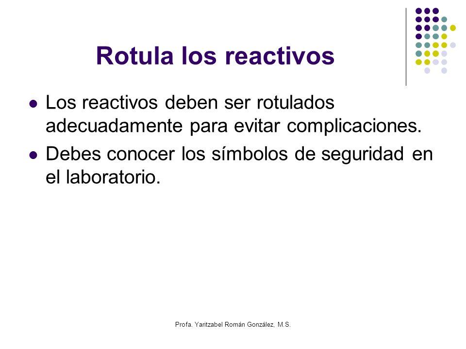 Profa. Yaritzabel Román González, M.S. Rotula los reactivos Los reactivos deben ser rotulados adecuadamente para evitar complicaciones. Debes conocer