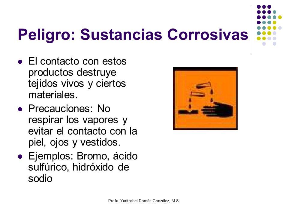 Profa. Yaritzabel Román González, M.S. Peligro: Sustancias Corrosivas El contacto con estos productos destruye tejidos vivos y ciertos materiales. Pre