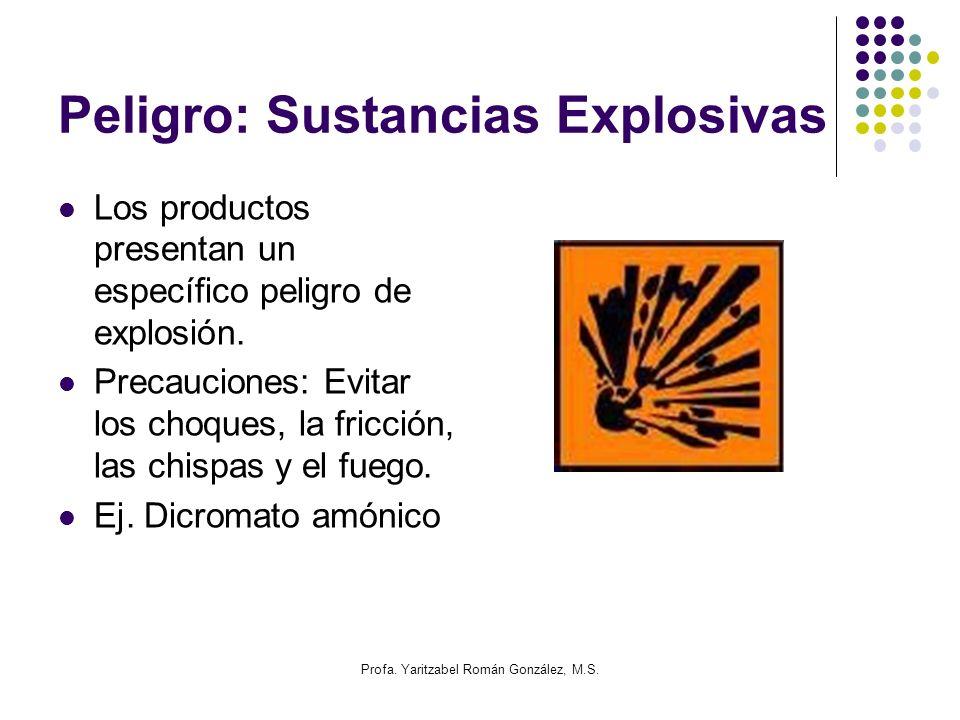 Profa. Yaritzabel Román González, M.S. Peligro: Sustancias Explosivas Los productos presentan un específico peligro de explosión. Precauciones: Evitar