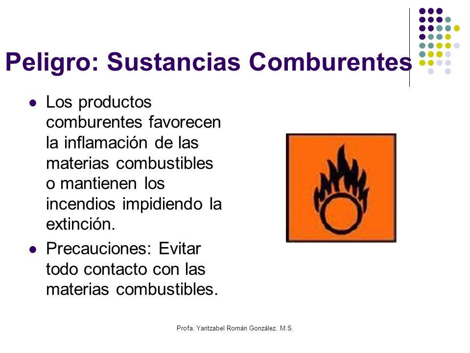 Profa. Yaritzabel Román González, M.S. Peligro: Sustancias Comburentes Los productos comburentes favorecen la inflamación de las materias combustibles