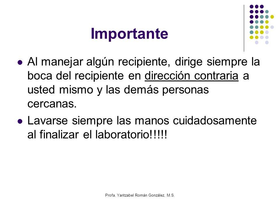 Profa. Yaritzabel Román González, M.S. Importante Al manejar algún recipiente, dirige siempre la boca del recipiente en dirección contraria a usted mi