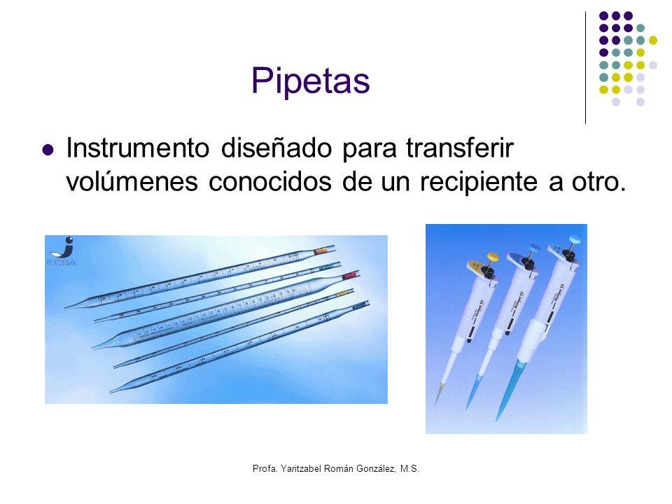 Profa. Yaritzabel Román González, M.S. Pipetas Instrumento diseñado para transferir volúmenes conocidos de un recipiente a otro.