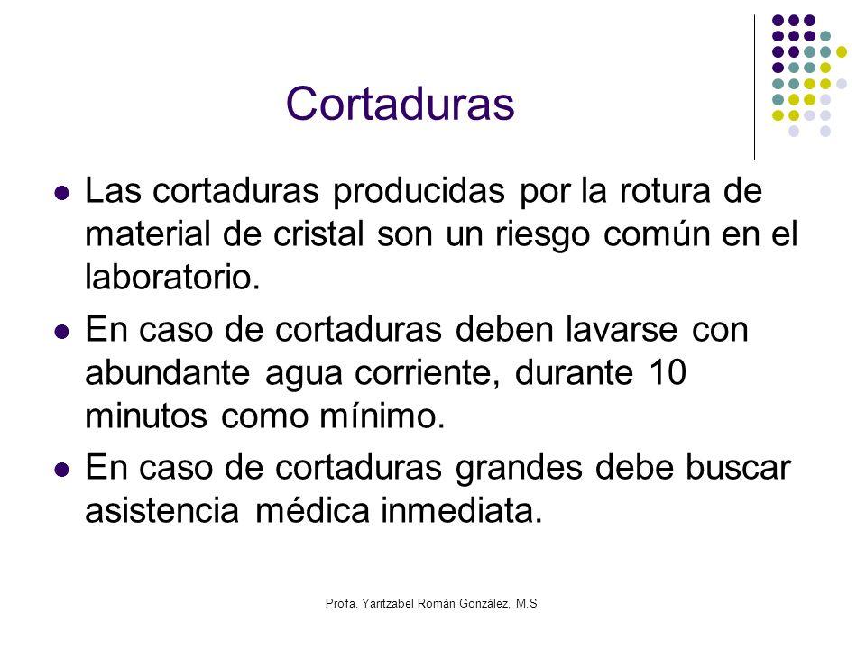 Profa. Yaritzabel Román González, M.S. Cortaduras Las cortaduras producidas por la rotura de material de cristal son un riesgo común en el laboratorio