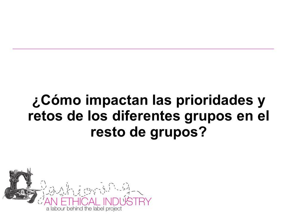 ¿Cómo impactan las prioridades y retos de los diferentes grupos en el resto de grupos?