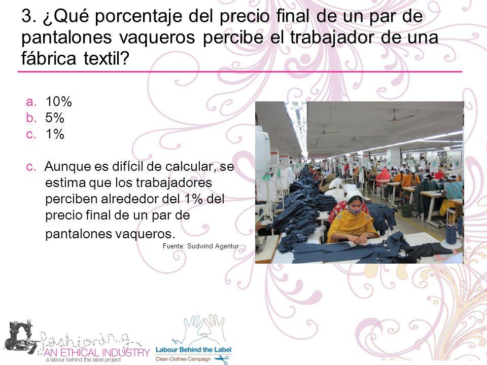3. ¿Qué porcentaje del precio final de un par de pantalones vaqueros percibe el trabajador de una fábrica textil? a.10% b.5% c.1% c. Aunque es dif í c