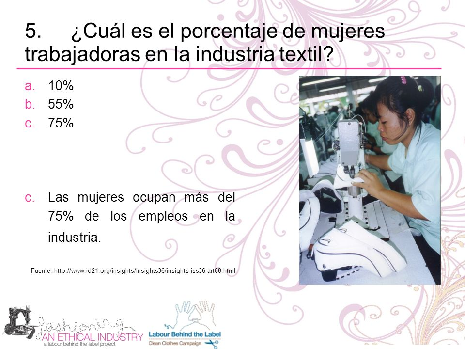Lecturas adicionales: Purchasing Practices: Hoja informativa 17 – Fashioning an Ethical Industry (2006) Who pays for cheap clothes.