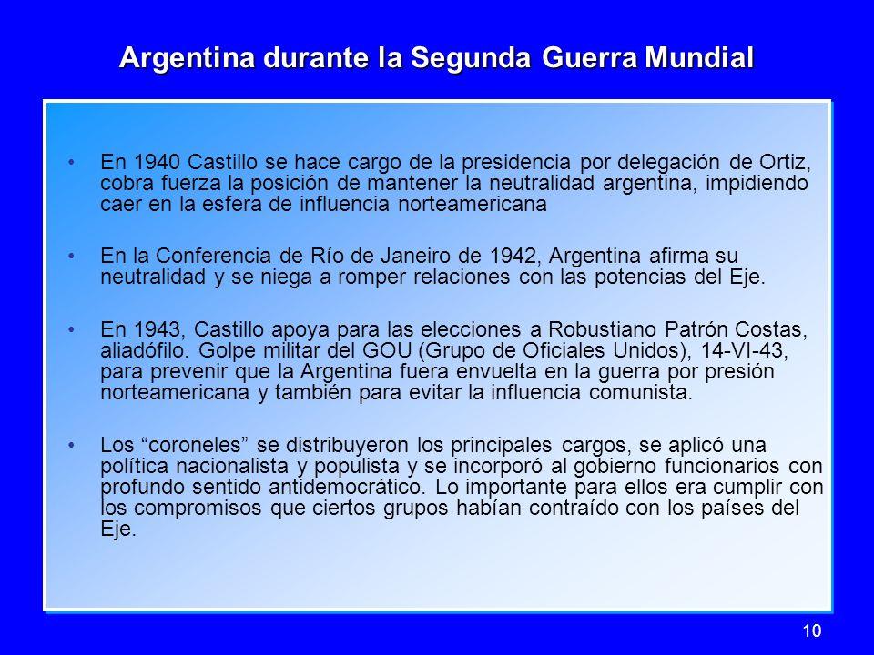 10 Argentina durante la Segunda Guerra Mundial En 1940 Castillo se hace cargo de la presidencia por delegación de Ortiz, cobra fuerza la posición de m