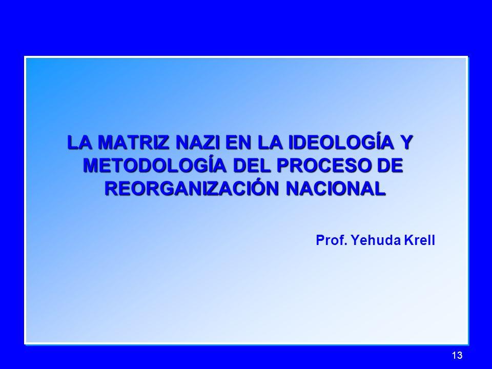 13 LA MATRIZ NAZI EN LA IDEOLOGÍA Y LA MATRIZ NAZI EN LA IDEOLOGÍA Y METODOLOGÍA DEL PROCESO DE METODOLOGÍA DEL PROCESO DE REORGANIZACIÓN NACIONAL REO