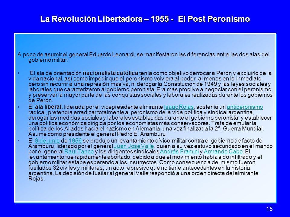 15 La Revolución Libertadora – 1955 - El Post Peronismo A poco de asumir el general Eduardo Leonardi, se manifestaron las diferencias entre las dos al