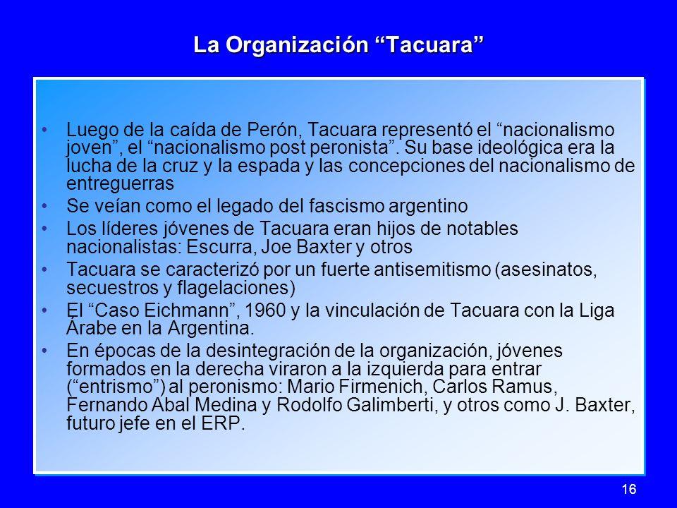16 La Organización Tacuara Luego de la caída de Perón, Tacuara representó el nacionalismo joven, el nacionalismo post peronista. Su base ideológica er