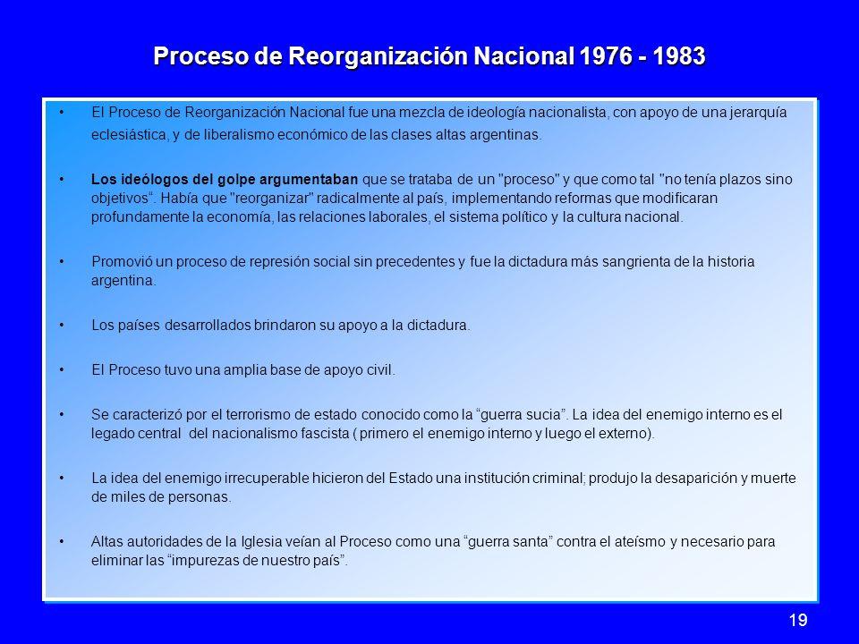 19 Proceso de Reorganización Nacional 1976 - 1983 El Proceso de Reorganización Nacional fue una mezcla de ideología nacionalista, con apoyo de una jer