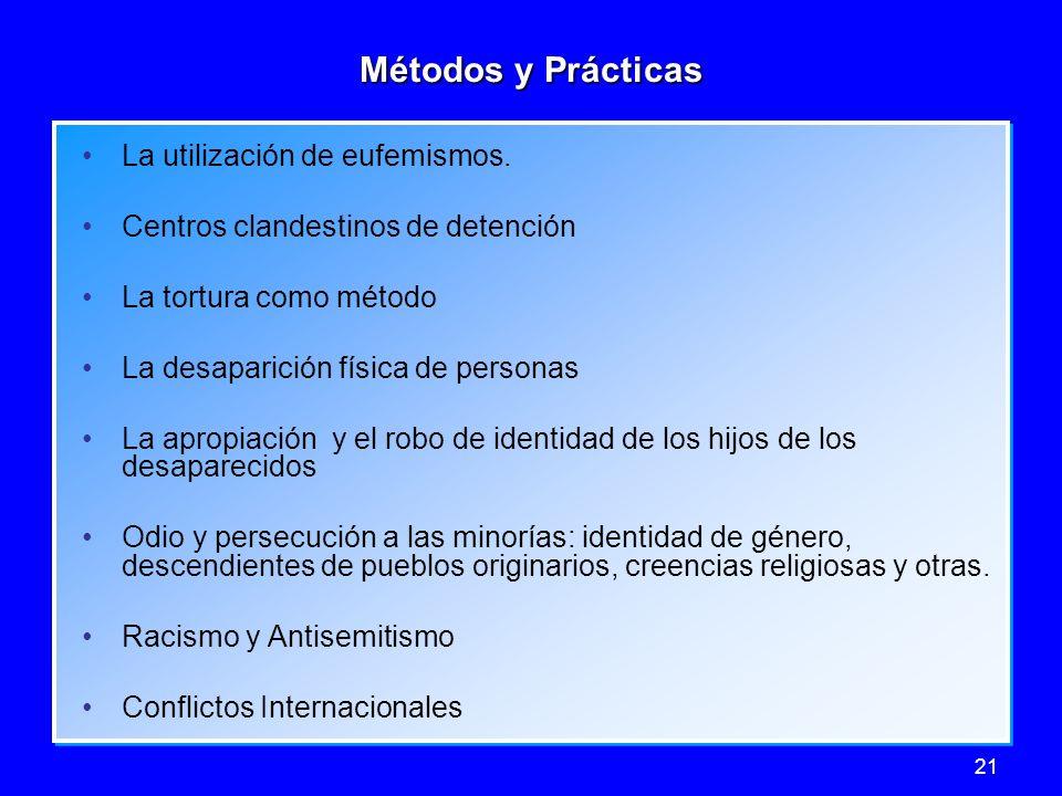 21 Métodos y Prácticas La utilización de eufemismos. Centros clandestinos de detención La tortura como método La desaparición física de personas La ap