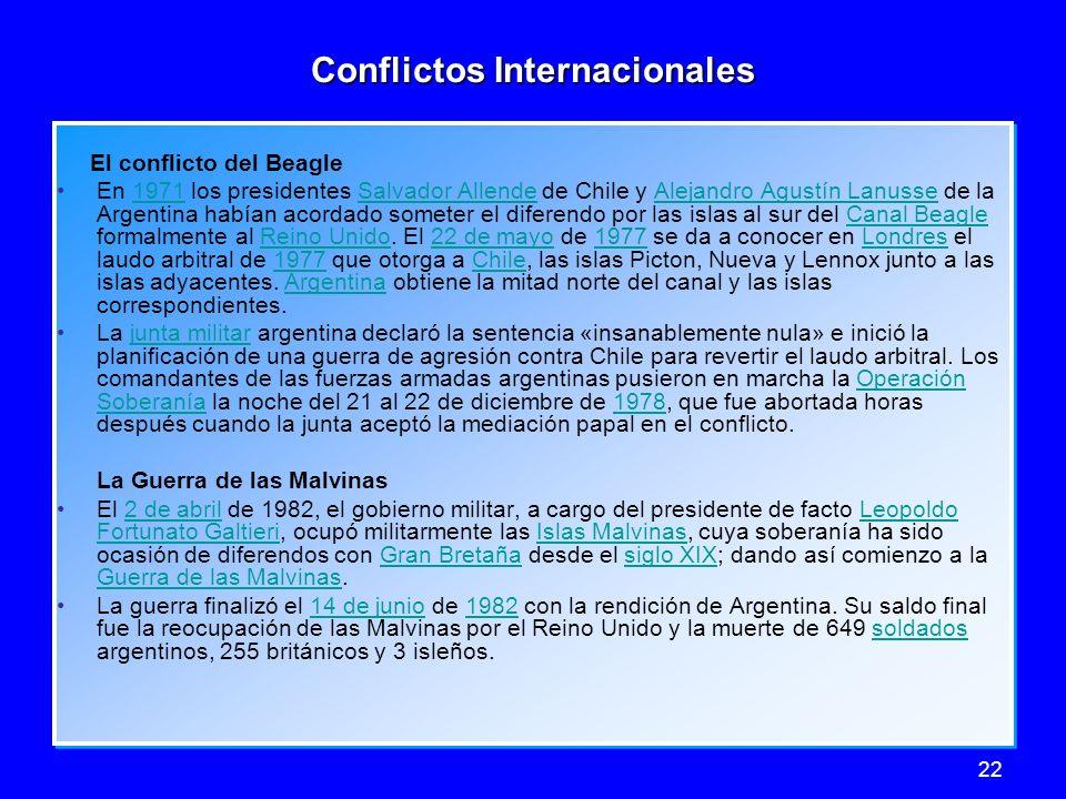 22 Conflictos Internacionales El conflicto del Beagle En 1971 los presidentes Salvador Allende de Chile y Alejandro Agustín Lanusse de la Argentina ha