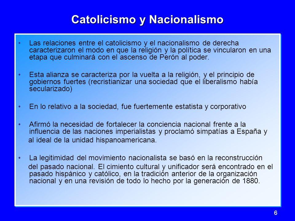 6 Catolicismo y Nacionalismo Las relaciones entre el catolicismo y el nacionalismo de derecha caracterizaron el modo en que la religión y la política