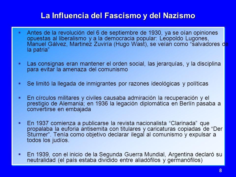 8 La Influencia del Fascismo y del Nazismo Antes de la revolución del 6 de septiembre de 1930, ya se oían opiniones opuestas al liberalismo y a la dem