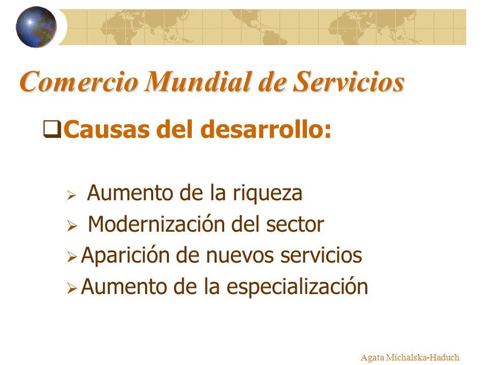 Agata Michalska-Haduch Comercio Mundial de Servicios Causas del desarrollo: Aumento de la riqueza Modernización del sector Aparición de nuevos servici