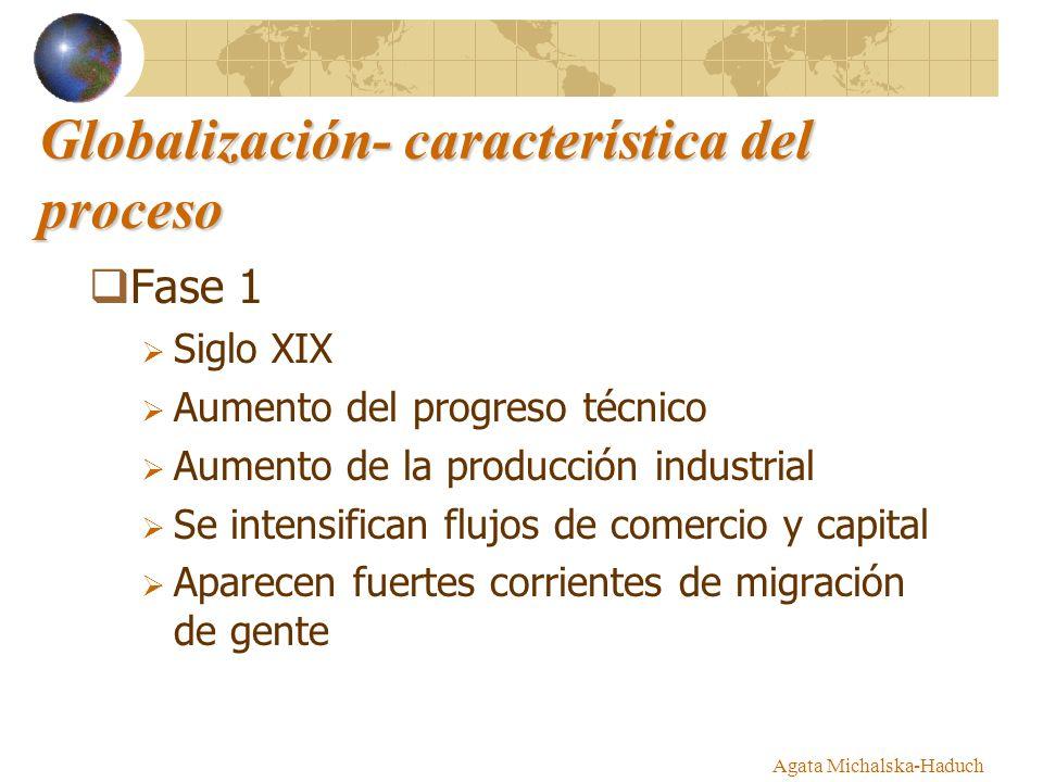 Globalización- característica del proceso Fase 1 Siglo XIX Aumento del progreso técnico Aumento de la producción industrial Se intensifican flujos de