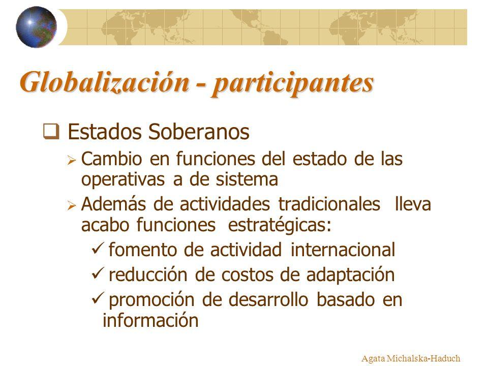 Globalización - participantes Estados Soberanos Cambio en funciones del estado de las operativas a de sistema Además de actividades tradicionales llev