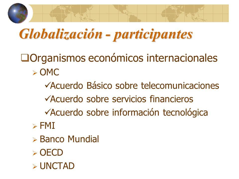 Globalización - participantes Organismos económicos internacionales OMC Acuerdo Básico sobre telecomunicaciones Acuerdo sobre servicios financieros Ac