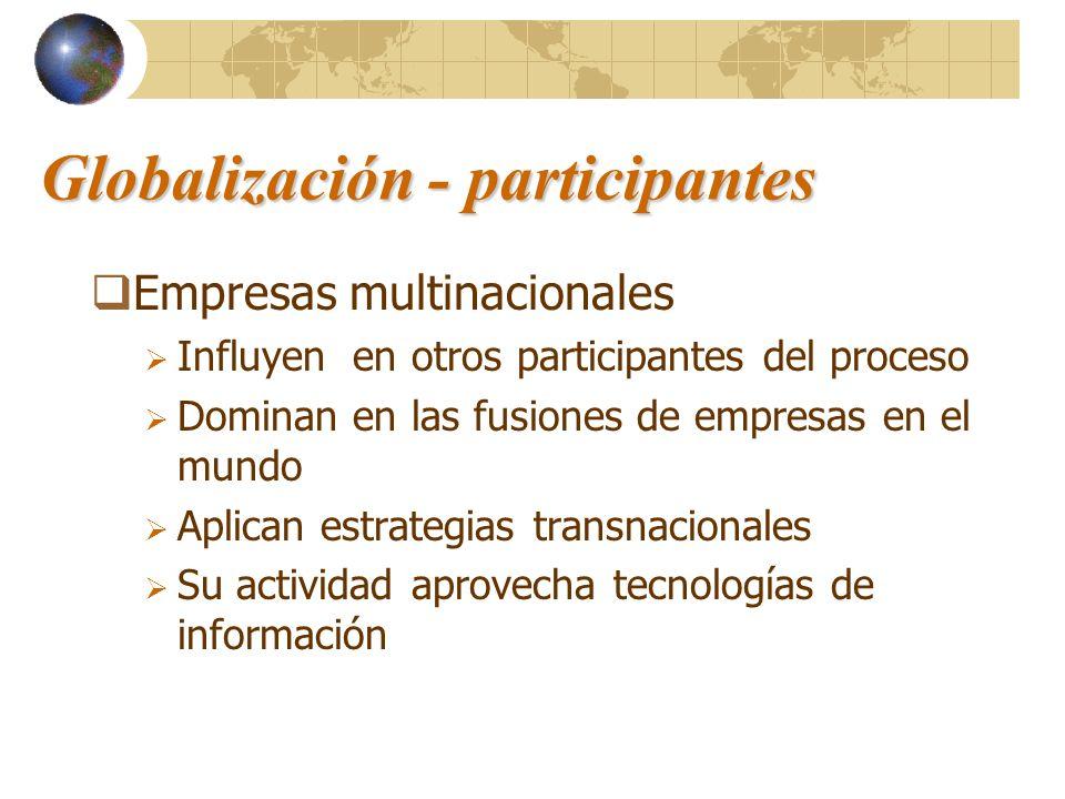 Globalización - participantes Empresas multinacionales Influyen en otros participantes del proceso Dominan en las fusiones de empresas en el mundo Apl